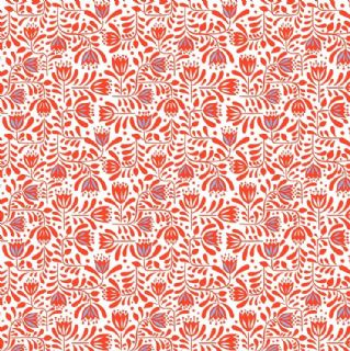 Lewis & Irene - Hann's House - 5814 - Stylised Floral, Red on White - A278.2 - Cotton Fabric